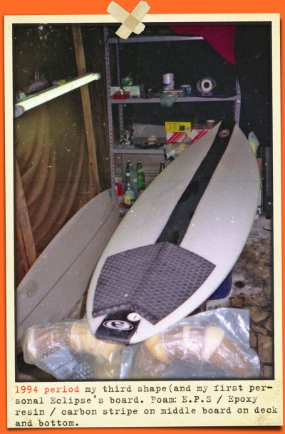 eclipse surfboards first E logo and third shaped board